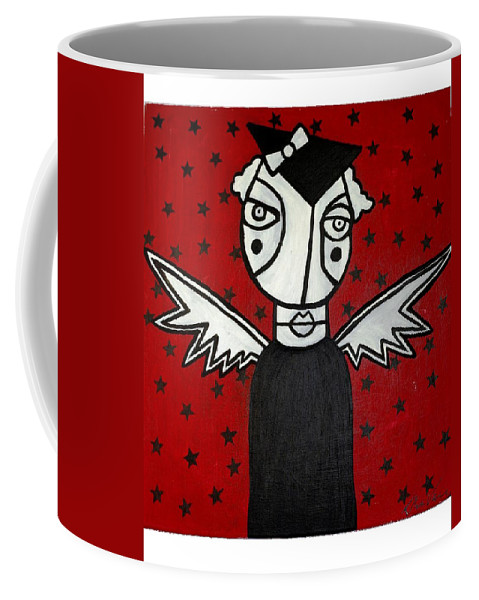 Potrait Coffee Mug featuring the painting Mrs.creepy by Thomas Valentine