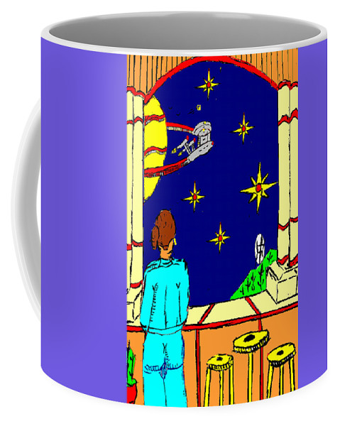 Lady Coffee Mug featuring the painting Ms Cleo On A Balcony In Paradise by Anthony Benjamin