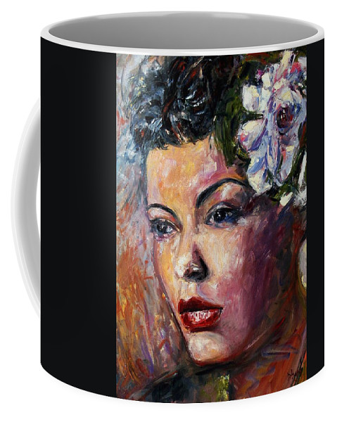 Jazz Coffee Mug featuring the painting Ms. Lady Day by Debra Hurd