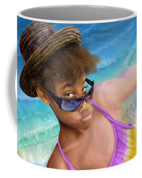 Beach Scene Coffee Mug featuring the painting Ms. Sophie D by Reggie Duffie