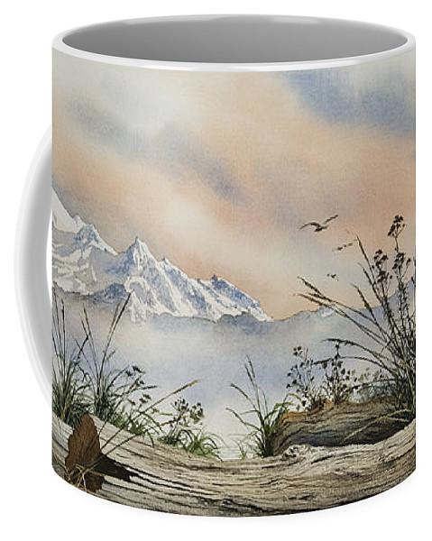 Landscape Fine Art Print Coffee Mug featuring the painting Mt. Baker Cascade Coast by James Williamson
