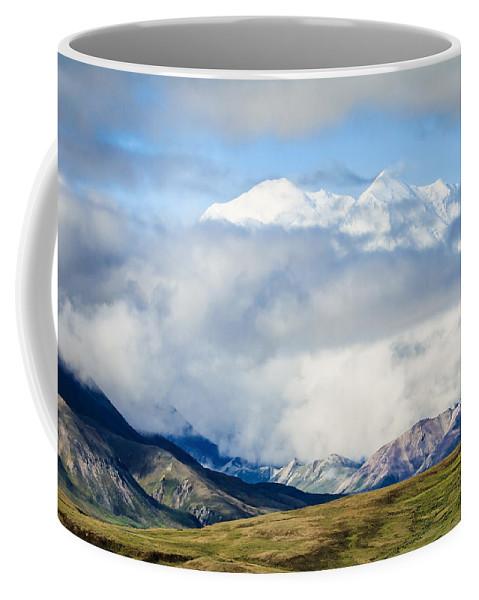 Alaska Coffee Mug featuring the photograph Mt Denali In The Clouds by Joni Eskridge