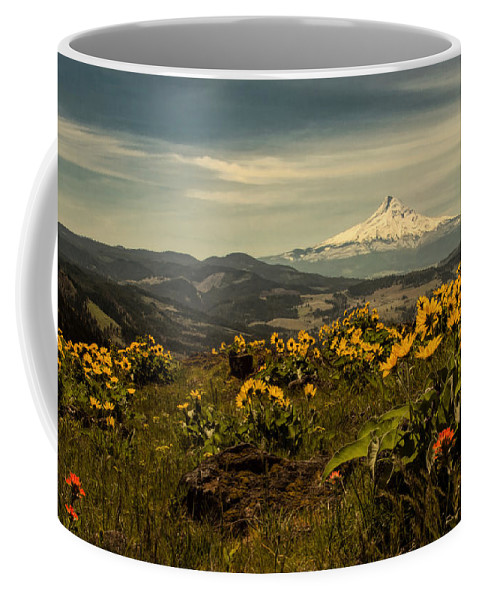 Hood River Coffee Mug featuring the photograph Mt. Hood And Wildflowers by Don Schwartz