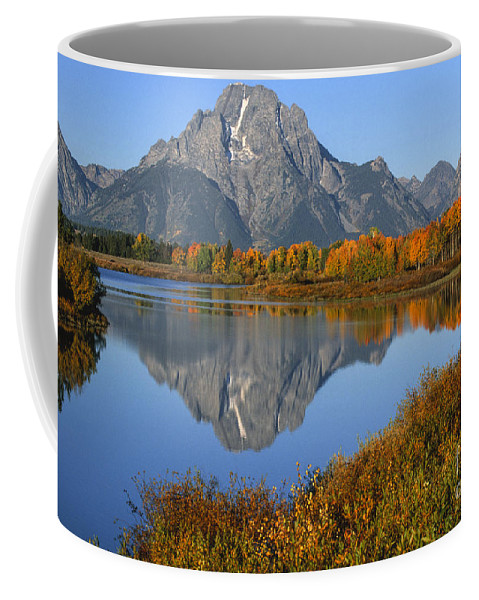 Grand Teton Coffee Mug featuring the photograph Mt. Moran Fall Reflection by Sandra Bronstein
