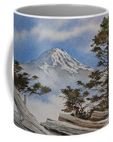 Landscape Fine Art Print Coffee Mug featuring the painting Mt. Rainier Landscape by James Williamson
