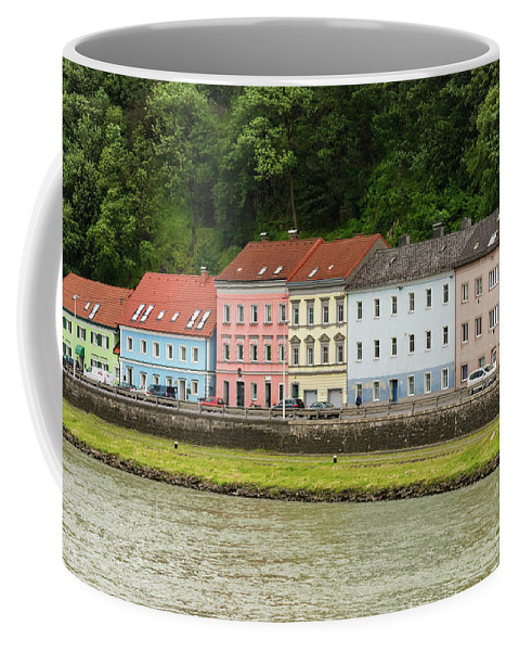 Linz Austria Architecture Building Buildings Structure Structure Danube River Rivers Water Color Colors Tree Trees Landscape Landscapes City Cities Cityscape Cityscapes Coffee Mug featuring the photograph Multi-colored Structures by Bob Phillips