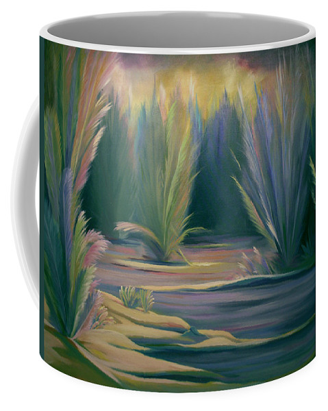 Feathers Coffee Mug featuring the painting Mural Field of Feathers by Nancy Griswold
