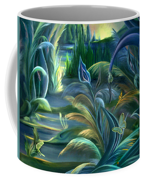 Mural Coffee Mug featuring the painting Mural Insects Of Enchanted Stream by Nancy Griswold