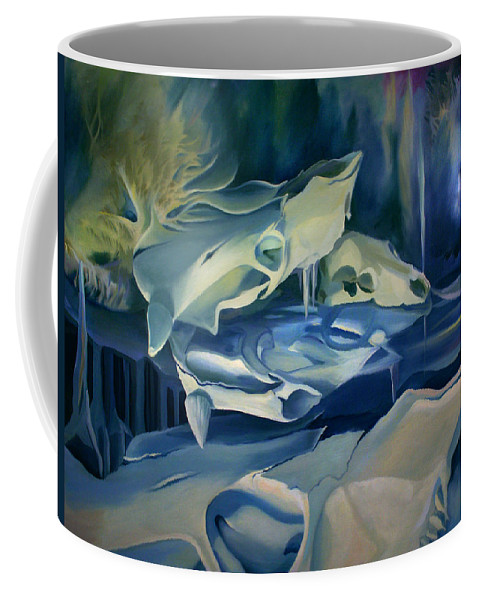 Surreal Coffee Mug featuring the painting Mural Skulls Of Lifes Past by Nancy Griswold