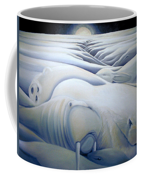 Mural Coffee Mug featuring the painting Mural Winters Embracing Crevice by Nancy Griswold