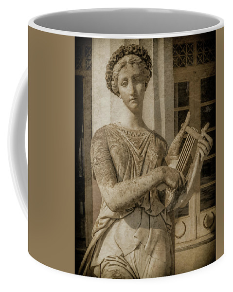 Achilleion Coffee Mug featuring the photograph Achilleion, Corfu, Greece - The Muse Terpsichore by Mark Forte