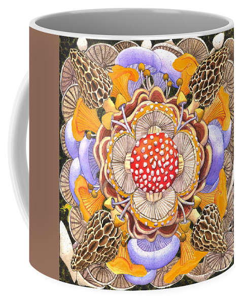Mushrooms Coffee Mug featuring the painting Mushroom Mandala by Catherine G McElroy