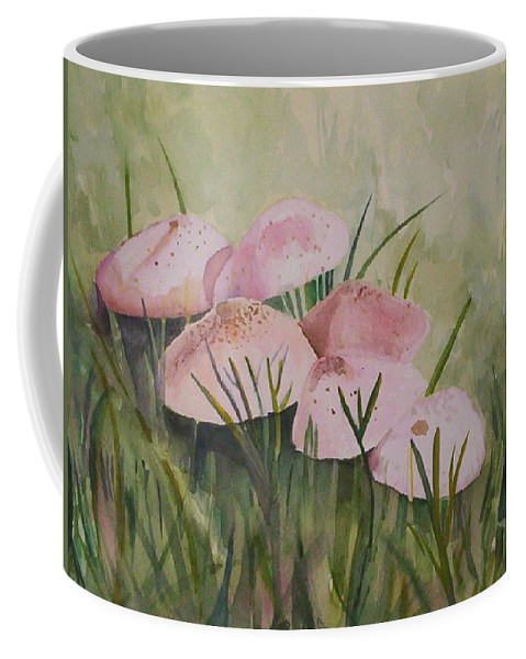 Landscape Coffee Mug featuring the painting Mushrooms by Suzanne Udell Levinger