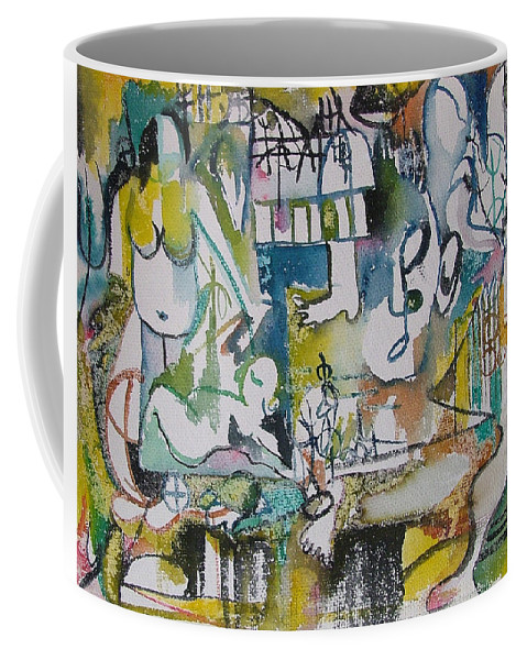 Music Coffee Mug featuring the painting Musical Abstraction by Rita Fetisov
