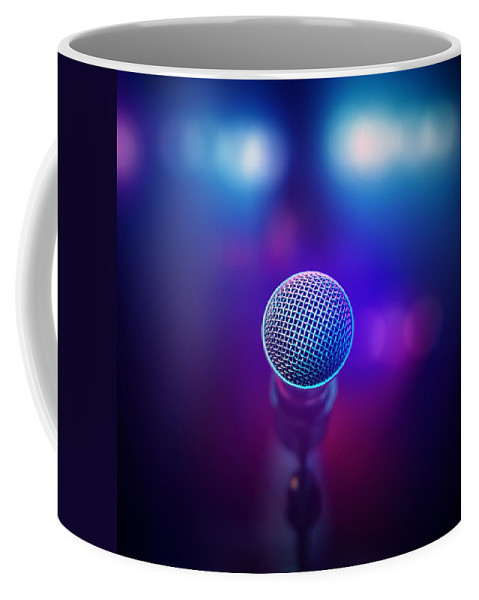 Microphone Coffee Mug featuring the photograph Musical Microphone On Stage by Johan Swanepoel