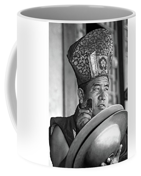 Buddhism Coffee Mug featuring the photograph Musical Monk Bw by Steve Harrington