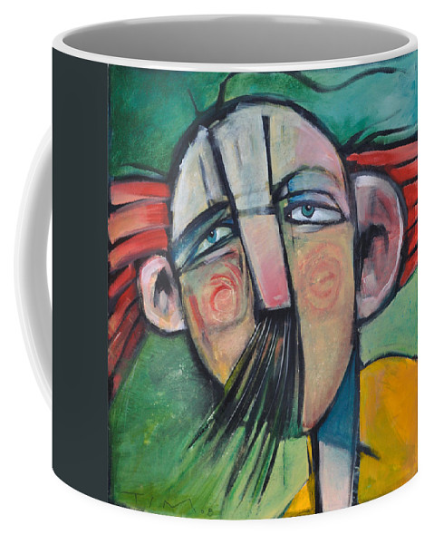 Humor Coffee Mug featuring the painting Mustached Man In Wind by Tim Nyberg