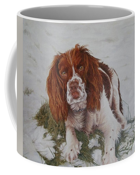 Dog Coffee Mug featuring the painting Muttley-the Best Springer Spaniel by Pauline Sharp