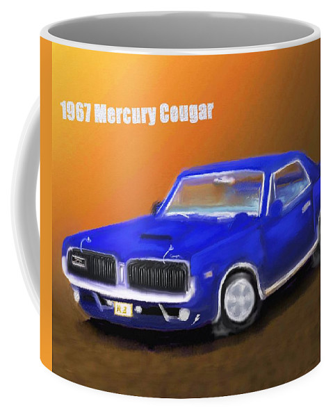 Automobile Coffee Mug featuring the painting My 1967 Cougar by Robert Rearick