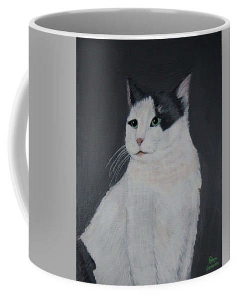 Calico Cat Kitty Love Play Playful Fun Happy White Gray Grey Pink Robyn Geranis Coffee Mug featuring the painting My Best Side by Robyn Geranis