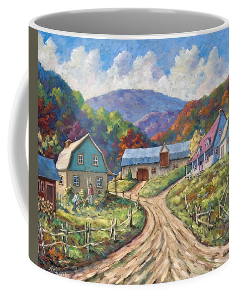 Country Coffee Mug featuring the painting My Country My Village by Richard T Pranke