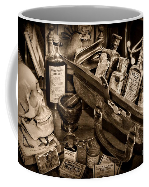 Paul Ward Coffee Mug featuring the photograph My Doctors Desk In Sepia by Paul Ward