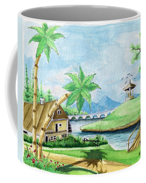 Landscape Coffee Mug featuring the painting My First Landscape Watercolor Painting At The Age Of 18 by Alban Dizdari