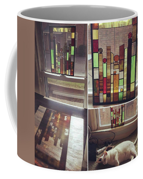 Stained Glass Coffee Mug featuring the glass art My First Tiny Window by Summer Porter