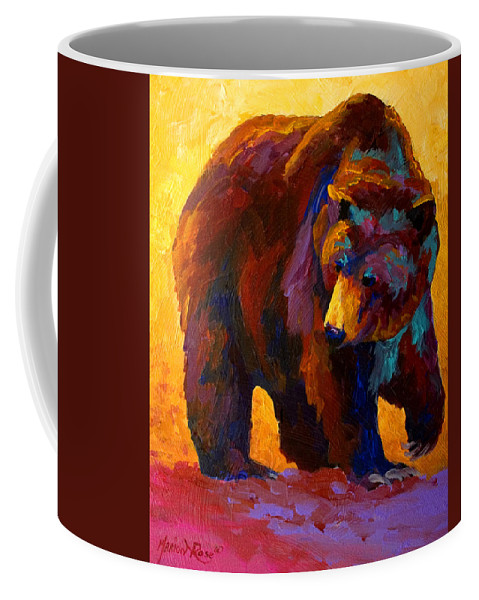 Bear Coffee Mug featuring the painting My Fish - Grizzly Bear by Marion Rose
