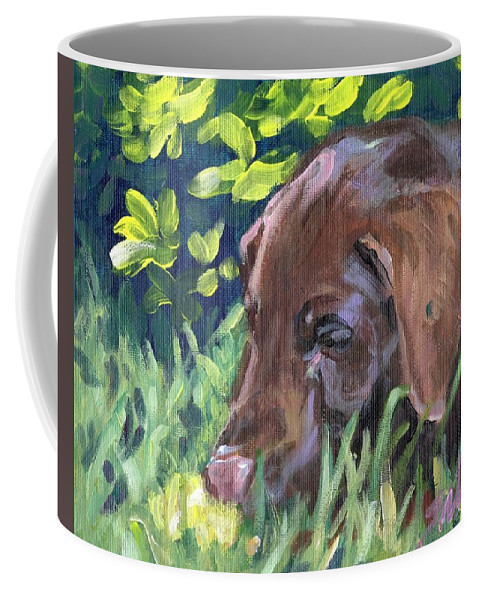Chocolate Lab Coffee Mug featuring the painting My Forever Home by Sheila Wedegis
