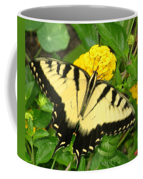Butterfly Coffee Mug featuring the photograph My Garden Visitor by Laura Corebello