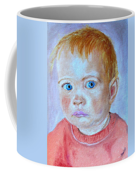 Leonie Coffee Mug featuring the painting My Granddaughter Leonie by Helmut Rottler