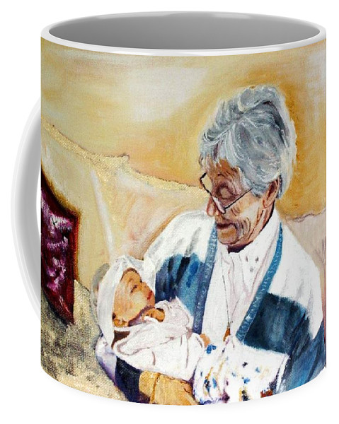 Portrait Coffee Mug featuring the painting my granddaughter Leonie with her great grandmum by Helmut Rottler