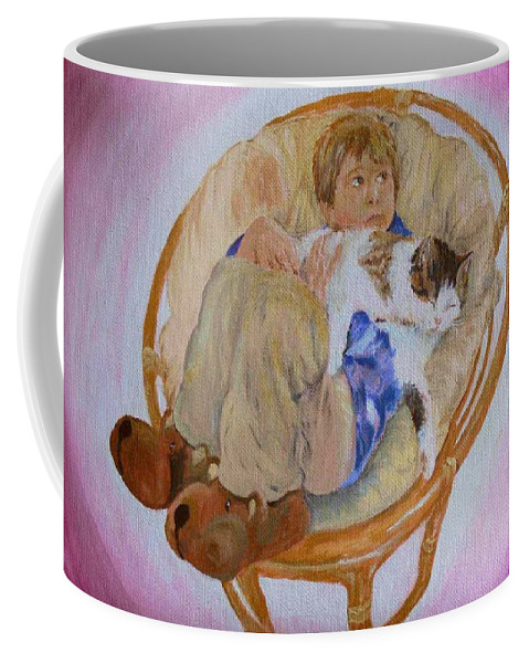 Portrait Coffee Mug featuring the painting my grandson Pascal with his cat Paul by Helmut Rottler