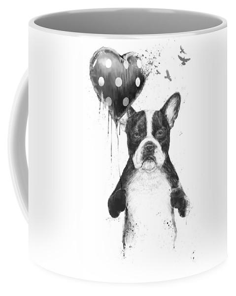 Bulldog Coffee Mug featuring the mixed media My heart goes boom by Balazs Solti