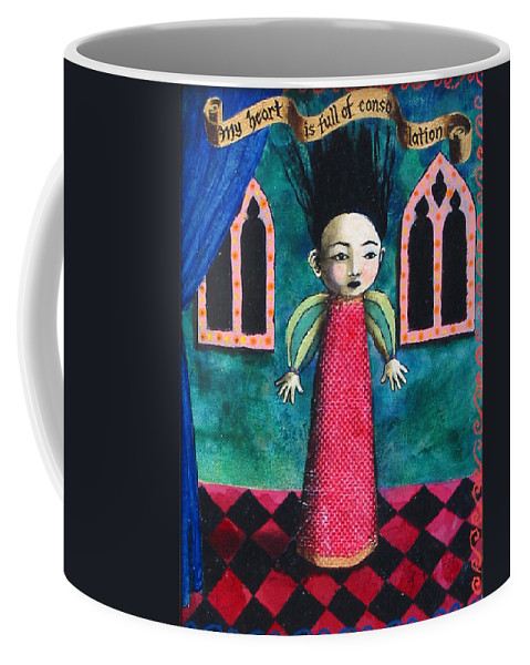 Figure Coffee Mug featuring the painting My Heart Is Full Of Consolation by Pauline Lim