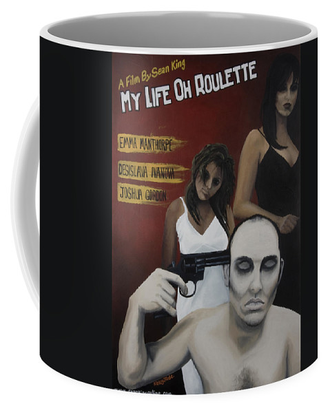 Movie Poster Coffee Mug featuring the painting My Life Oh Roulette by Kelly Jade King