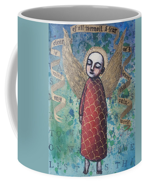 Angel Coffee Mug featuring the painting My Mind Is Cleared Of All Turmoil And Fear by Pauline Lim