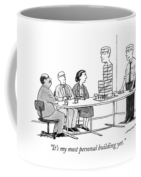 """it's My Most Personal Building Yet."" Coffee Mug featuring the drawing My most personal building by Joe Dator"