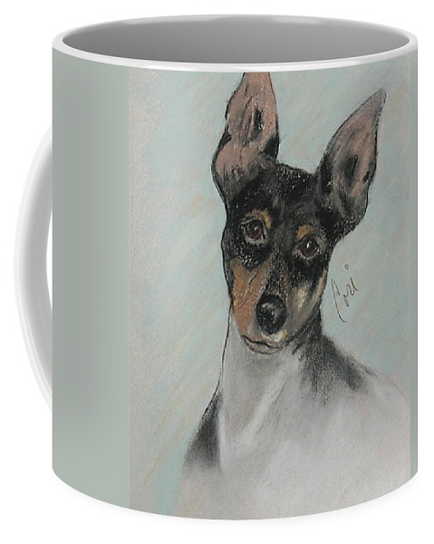 Toy Fox Terrier Coffee Mug featuring the drawing My Oh My by Cori Solomon