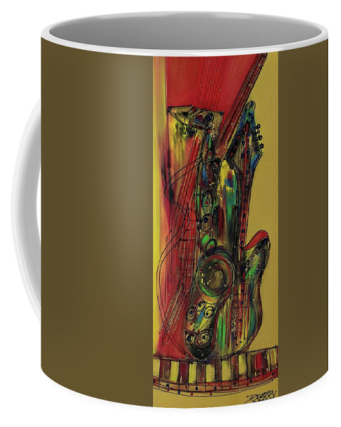 Jazz Coffee Mug featuring the painting My Sax My Way by Robert L Berry