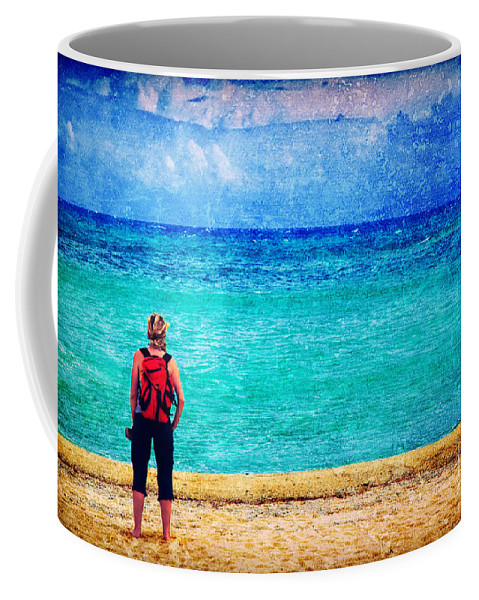 Sea Coffee Mug featuring the photograph My Thoughts Are Like Sea Waves by Silvia Ganora