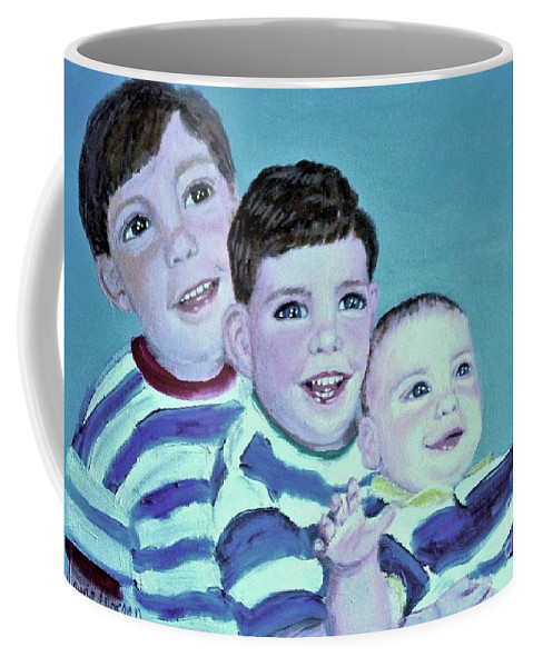 Children Coffee Mug featuring the painting My Three Sons by Laurie Morgan