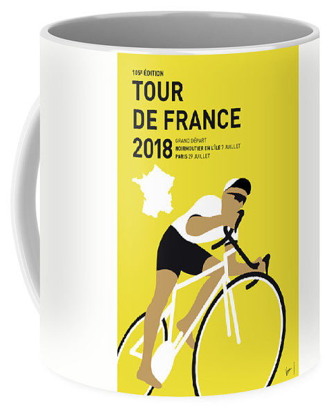 2018 Coffee Mug featuring the digital art My Tour De France Minimal Poster 2018 by Chungkong Art