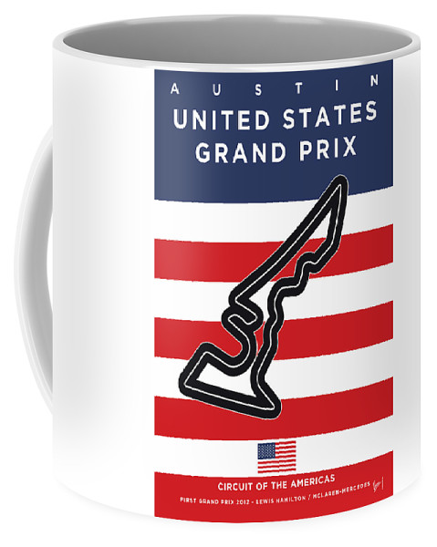 United States Of The Americas Elroy Coffee Mug featuring the digital art My United States Grand Prix Minimal Poster by Chungkong Art