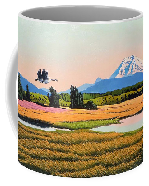 Canadian Geese Coffee Mug featuring the painting My Valley by Jim Bob Swafford