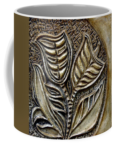 Vintaje Coffee Mug featuring the relief Vintaje Tile With Calas by Madalena Lobao-Tello