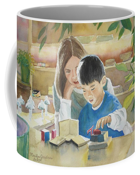 Boy Coffee Mug featuring the painting My Work by Marilyn Jacobson