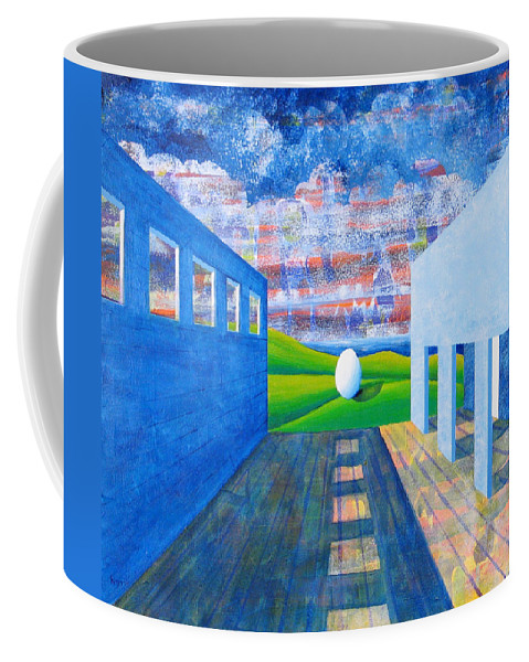 Surrealism Coffee Mug featuring the painting Mystery And Memory by Rollin Kocsis