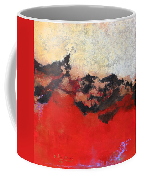 Abstract Coffee Mug featuring the painting Mystery by M Diane Bonaparte